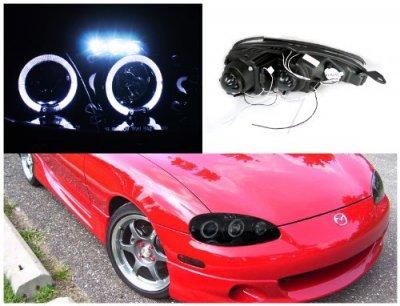 Jeep Halo Headlights >> Mazda Miata 2001-2005 Smoked Halo Projector Headlights with LED | A122ZQU4101 - TopGearAutosport