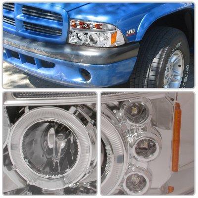 Dodge Dakota 1997-2004 Clear Dual Halo Projector Headlights with LED