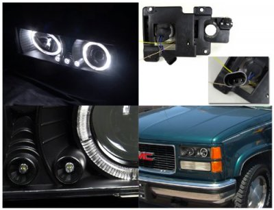 GMC Sierra 2500 1988-1998 Black Projector Headlights with Halo and LED