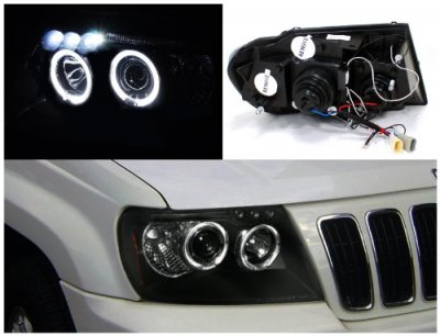 jeep grand cherokee 1999-2004 black dual halo projector headlights