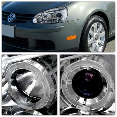 VW Golf 2006-2008 Clear Halo Projector Headlights with LED