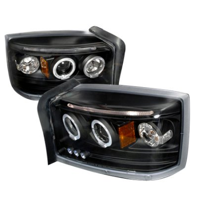 Dodge Dakota 2005-2007 Black Dual Halo Projector Headlights with LED