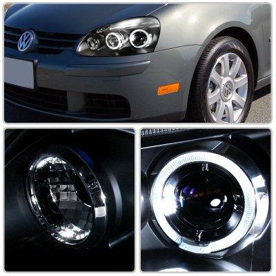 Vw Jetta 2006 2010 Black Halo Projector Headlights With