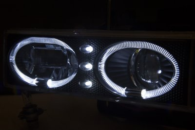 Chevy 1500 Pickup 1988-1998 Black Halo Projector Headlights with LED