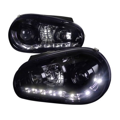 VW Golf 1999-2005 Smoked Projector Headlights with LED Daytime Running Lights