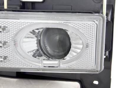 Chevy 1500 Pickup 1988-1998 Clear Dual Halo Projector Headlights with LED