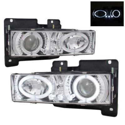 Chevy Tahoe 1995 1999 Clear Halo Headlights And Led Bumper Lights A122c1yg213 Topgearautosport