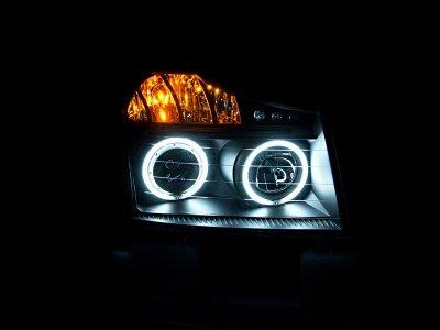 Nissan Titan 2008-2013 Projector Headlights Black CCFL Halo LED