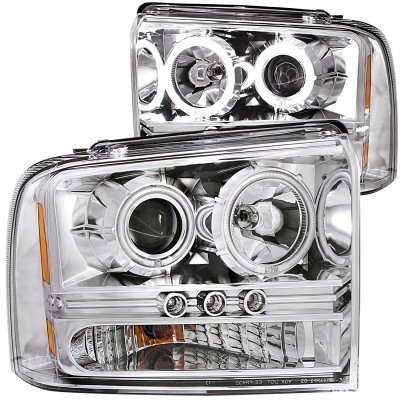 Ford F550 Super Duty 2005-2007 Clear Projector Headlights with CCFL Halo and LED