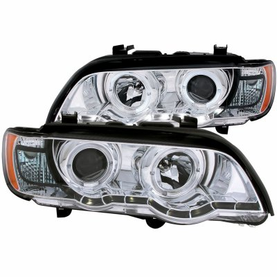 BMW X5 2000-2003 Projector Headlights Chrome Halo LED DRL