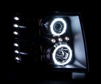 Chevy Silverado 2007-2013 Black Projector Headlights with CCFL Halo and LED