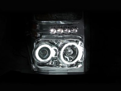 Ford F350 Super Duty 2008-2010 Clear Projector Headlights with CCFL Halo and LED