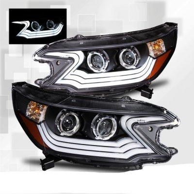 Honda Crv 2012 2013 Projector Headlights Black Led Drl