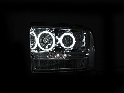 Ford F250 Super Duty 2005-2007 Clear Projector Headlights with CCFL Halo and LED