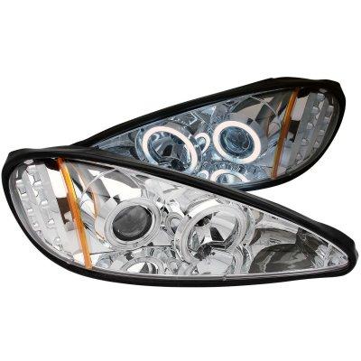 Pontiac Grand AM 1999-2005 Projector Headlights Chrome CCFL Halo LED