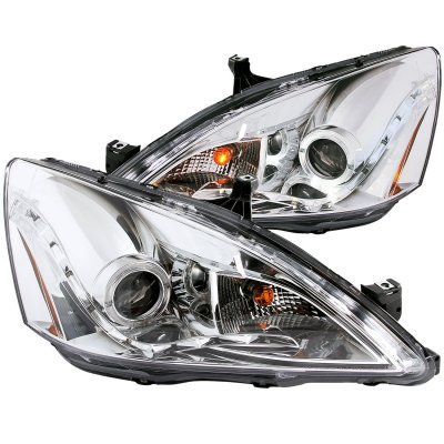 Honda Accord 2003-2007 Projector Headlights Chrome Halo LED DRL