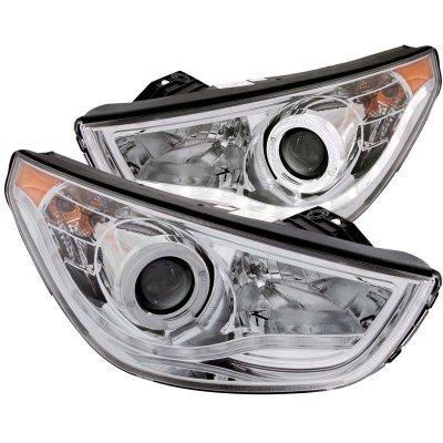 Hyundai Tucson 2010-2012 Projector Headlights Chrome CCFL Halo LED DRL