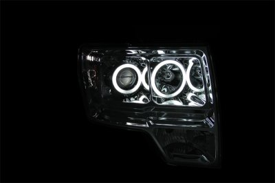 Ford F150 2009-2014 Clear Projector Headlights with CCFL Halo and LED