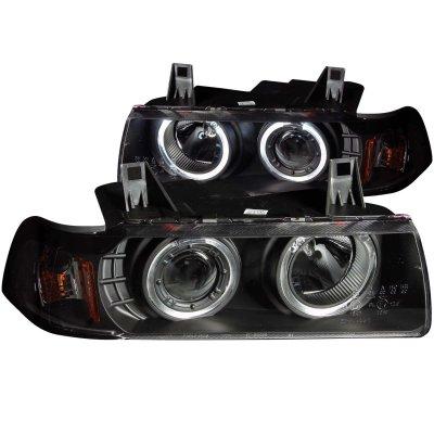 BMW 3 Series Sedan 1992-1998 Projector Headlights Black Halo