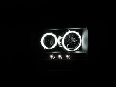 Ford F250 Super Duty 2005-2007 Black Projector Headlights with Halo and LED