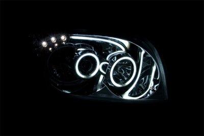 Dodge Caliber 2007-2012 Black Projector Headlights CCFL Halo LED