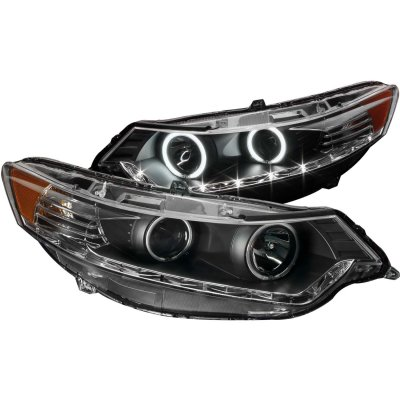 Acura TSX 2009-2012 Black HID Projector Headlights CCFL Halo LED DRL