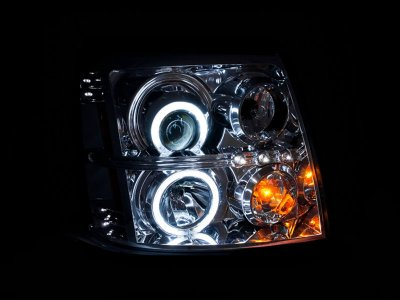 2002 Cadillac Escalade HID Projector Headlights Chrome CCFL Halo LED