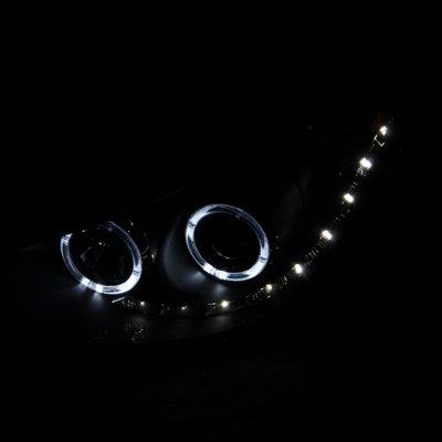 Hyundai Tucson 2010-2012 Projector Headlights Black Halo LED DRL