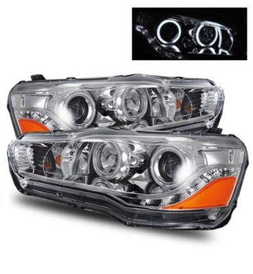 Mitsubishi Lancer 2008-2015 Projector Headlights Chrome CCFL Halo LED
