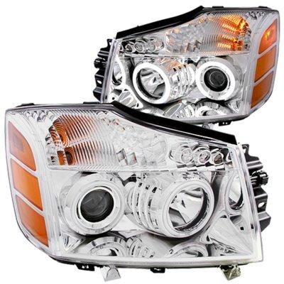 Nissan Titan 2004-2007 Clear Projector Headlights CCFL Halo LED