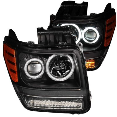 Dodge Nitro 2007-2011 Projector Headlights Black CCFL Halo LED