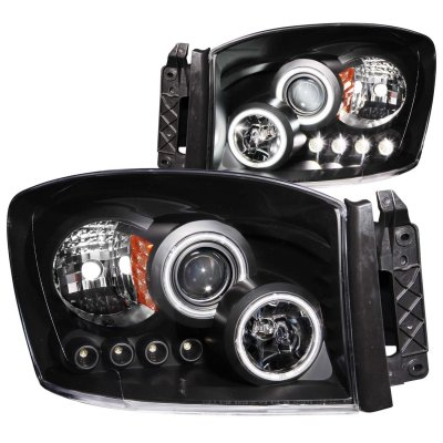 Dodge Ram 2006-2008 Black Projector Headlights with CCFL Halo and LED