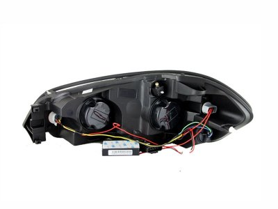 Chevy Impala 2006-2011 Black Projector Headlights with CCFL Halo and LED