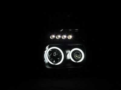 Ford F350 Super Duty 2008-2010 Black Projector Headlights with CCFL Halo and LED