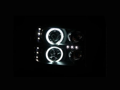 GMC Sierra 2007-2013 Black Projector Headlights with CCFL Halo and LED