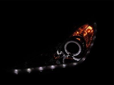 Hyundai Sonata 2011-2012 Projector Headlights Chrome Halo LED DRL