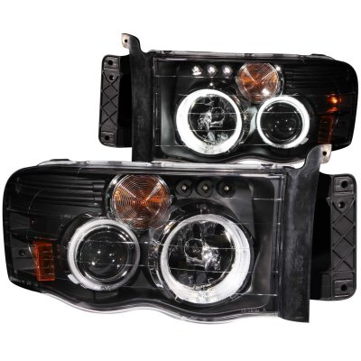 Dodge Ram 2500 2003-2005 Projector Headlights Black CCFL Halo LED