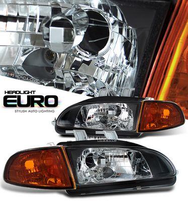 Honda Civic 1992-1995 JDM Black Euro Headlights and Smoked Corner Lights Set