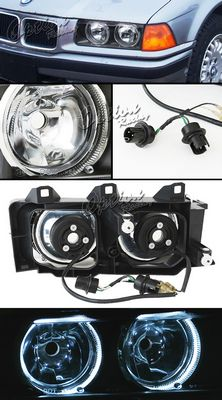 BMW E36 3 Series 1992-1998 Black Dual Halo Euro Headlights