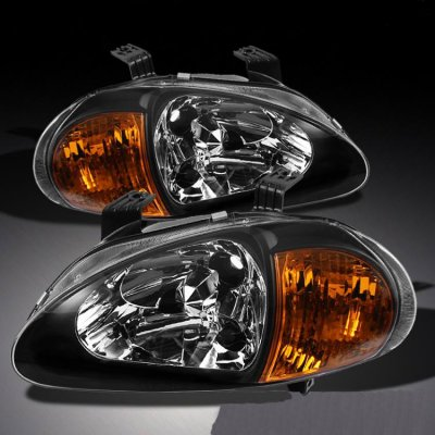 Honda Del Sol 1993-1997 JDM Black Headlights with Amber Corner Lights