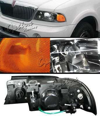 Lincoln Navigator 1998 2002 Black Euro Headlights