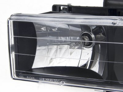 Chevy 1500 Pickup 1988-1998 Black Euro Headlights