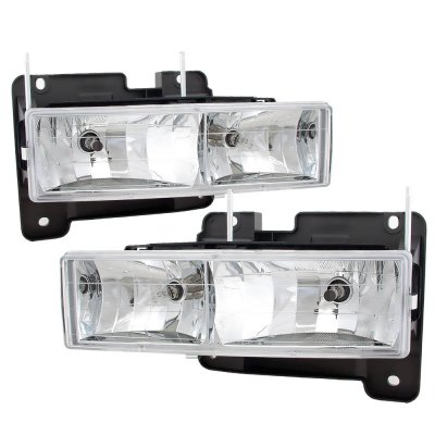 GMC Suburban 1994-1999 Clear Euro Headlights