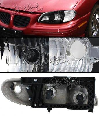 Pontiac Grand AM 1996-1998 Black Euro Headlights
