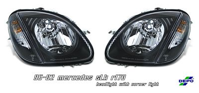 Mercedes Benz SLK 1998-2004 Depo Black Euro Headlights