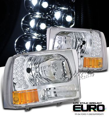 Ford F250 Super Duty 1999-2004 Clear Euro Headlights