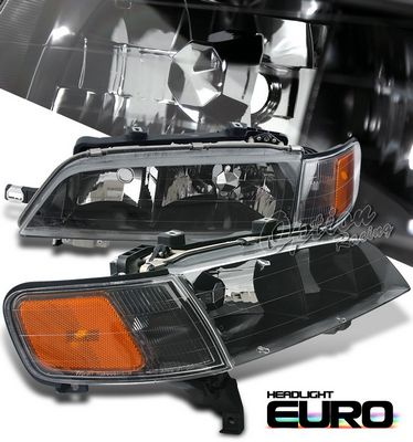 Honda Accord 1994-1997 Black Euro Headlights and Corner Lights Set