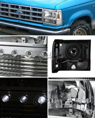 ford ranger 1989 1992 clear euro headlights with led daytime running lights. Black Bedroom Furniture Sets. Home Design Ideas