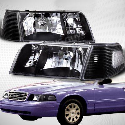 Ford Crown Victoria 1998 2008 Black Euro Headlights