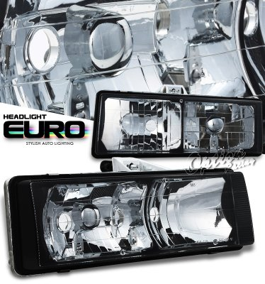 Chevy Astro 1995-2005 Black Euro Headlights